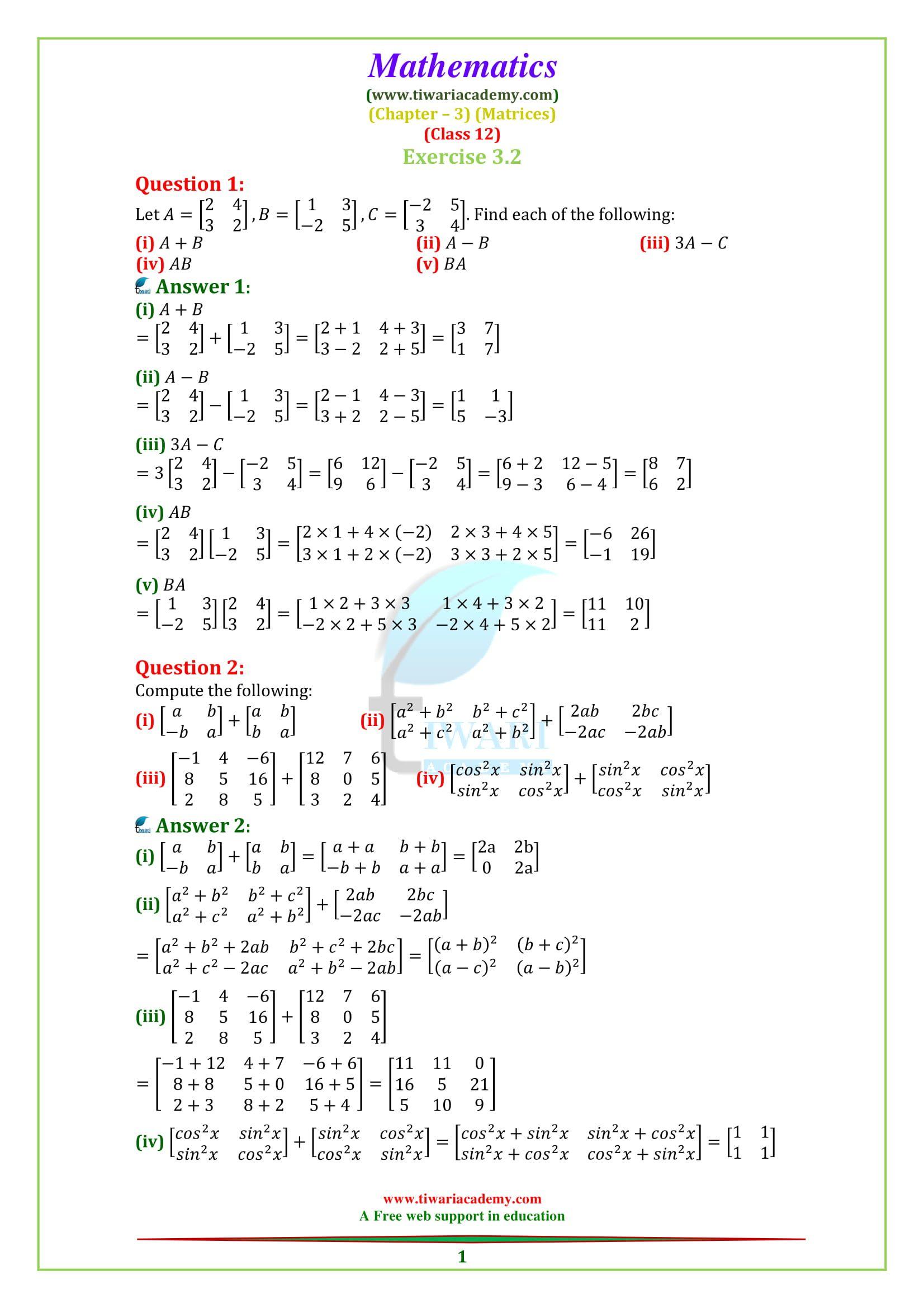 Ncert Solutions For Class 12 Maths Chapter 3 Exercise 3 2 Matrices Class 12 Maths Math Math Exercises [ 2339 x 1653 Pixel ]