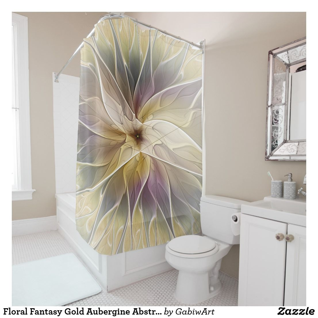 Floral Fantasy Gold Aubergine Abstract Fractal Art Shower Curtain ...