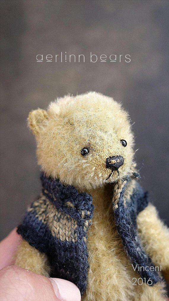 Vincent Miniature Mohair Artist Teddy Bear from by aerlinnbears