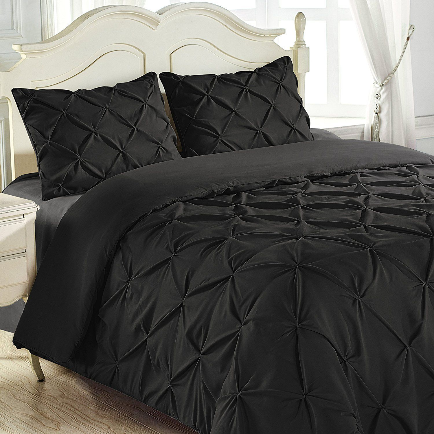 stitch set and king black pinch double queen pleat bedrooms reinforced piece pin decorating comforter home