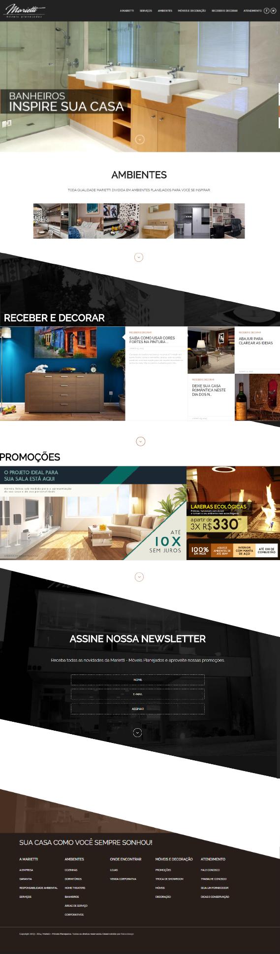 Website desenvolvido para a Marietti Móveis Planejados, há mais de 35 anos no ramo. O website apresenta os diversos produtos e serviços oferecidos pela empresa, assim como dicas para receber e decorar.