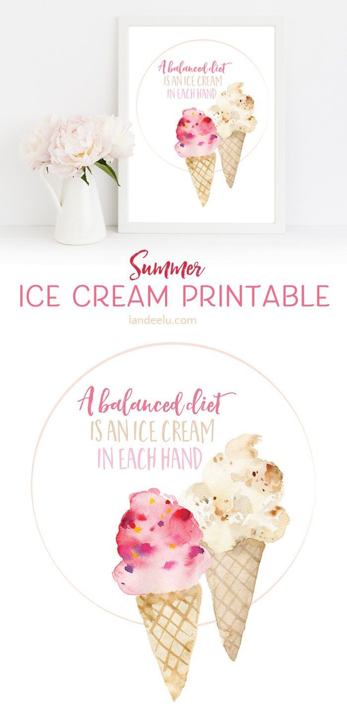 FREE Summer Art Printable ready to frame! Darling ice cream printable! And it's so true! I love ice cream!
