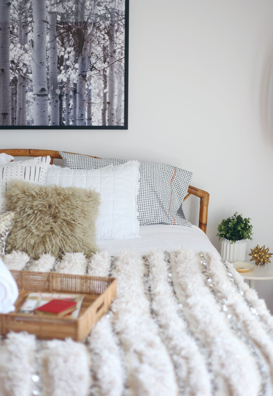 Decorist Online Interior Design Project Moroccan Wedding Blanket Sheepskin Pillow