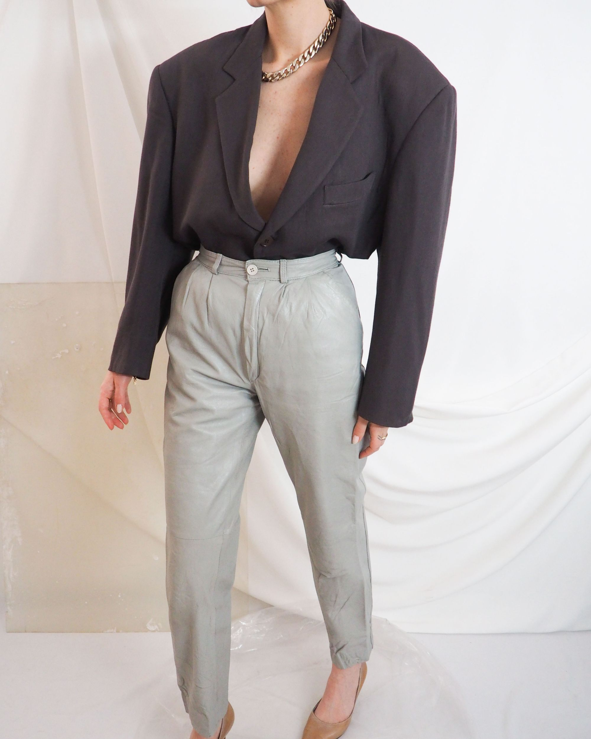 Vintage Leather Pants High Waist In Sage With Brown Blazer Tucked Inside Untitled 1991 In 2020 Vintage Clothing Online Vintage Outfits Online Shopping Clothes