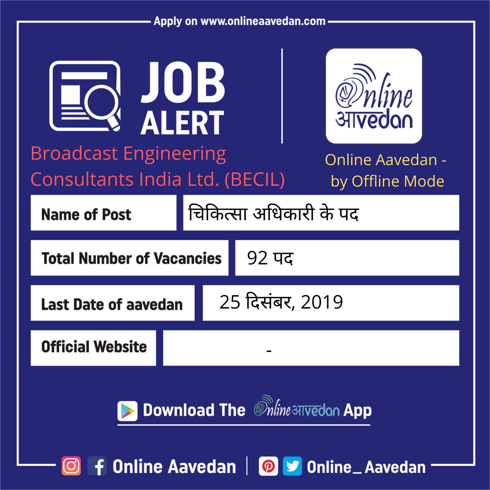 Broadcast Engineering Consultants India Ltd Becil Onlineaavedan Sarkarinaukri Govtjobs Psujobs Latestjobs Late Government Jobs Medical Jobs Police Jobs