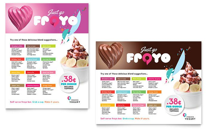 Poster template design for a frozen yogurt shop by StockLayouts - free poster template word