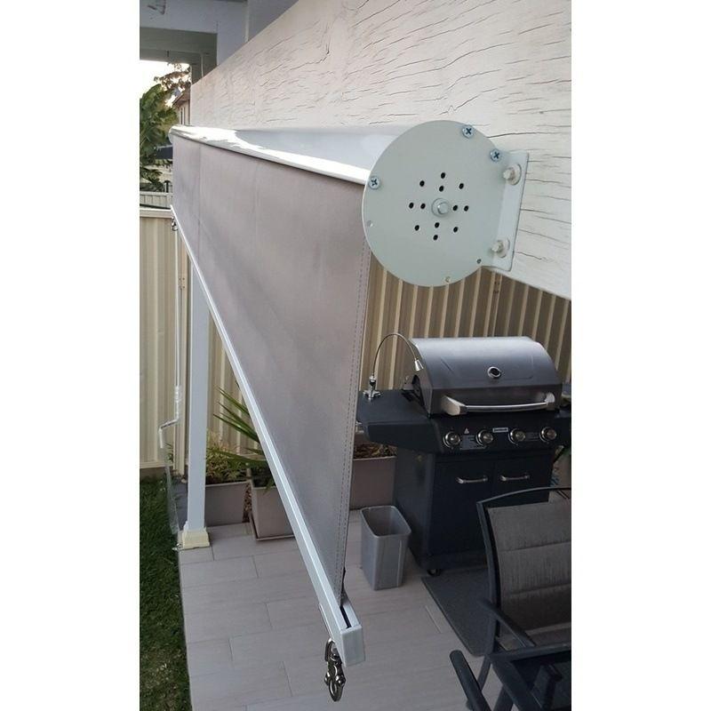 Straight Drop Outdoor Retractable Blind In Grey 3m Blinds Design