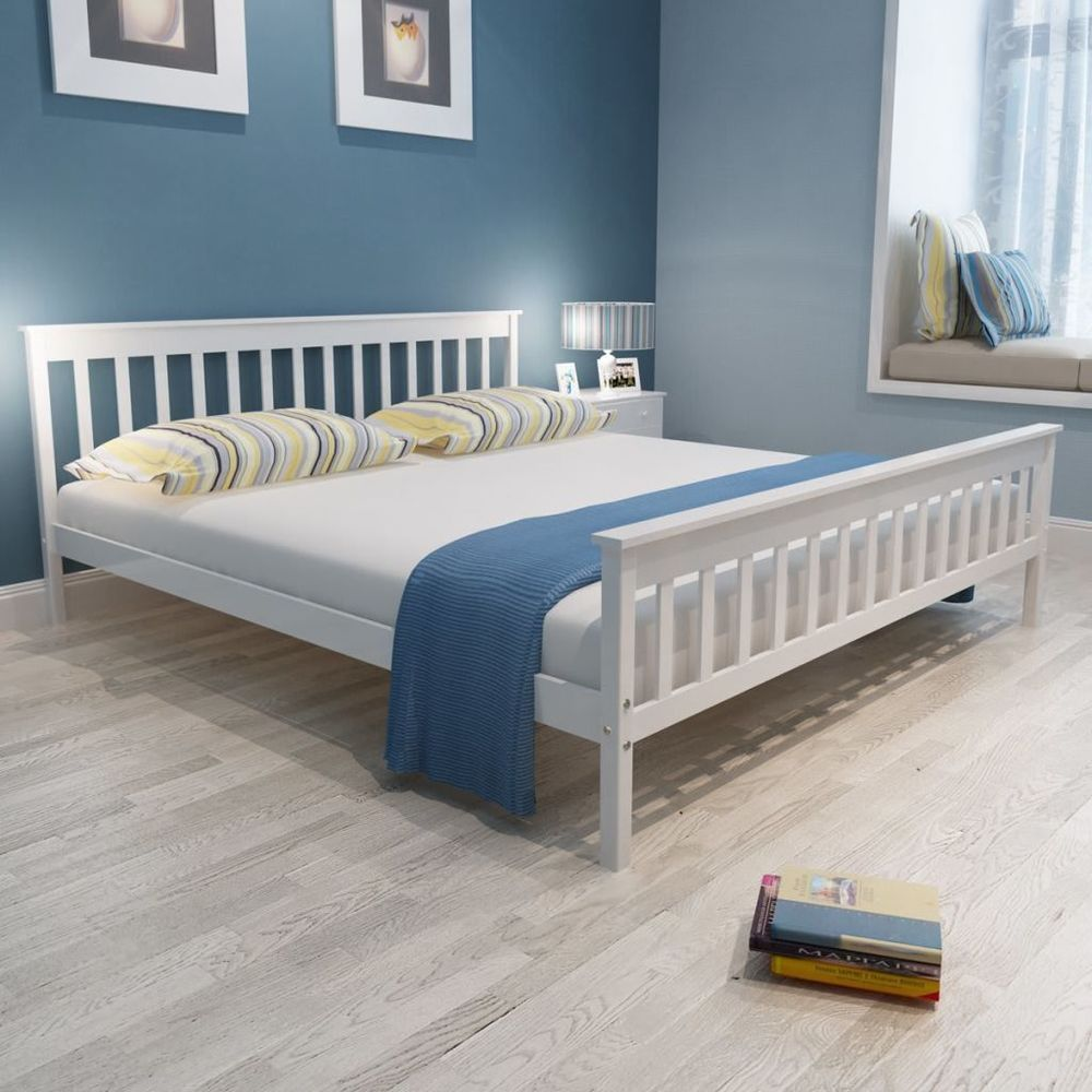 Vidaxl bed frame base furniture white solid pinewood x cm ft