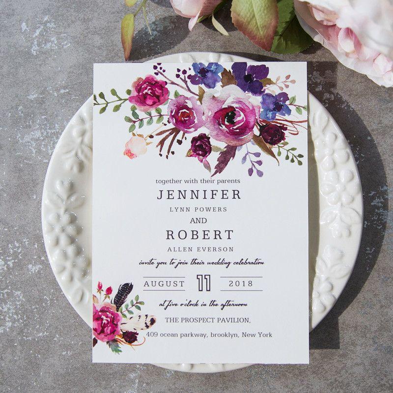 Spring Magenta Shades Of Purple Wedding Invitations Ewi423