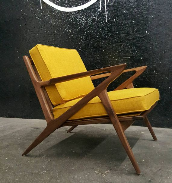Solid Walnut Wood Z Style Chair Finished In Natural Oil With Your Choice Of Fabric All Built I Chair Design Wooden Mid Century Chair Styles Mid Century Chair