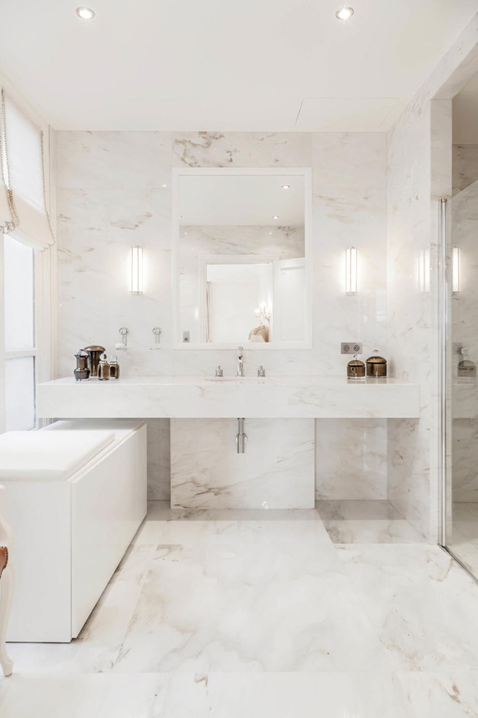White Marble Bathroom To Display A Timeless Class