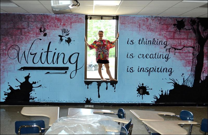 Classroom wall murals mural in the southview high for Classroom wall mural ideas