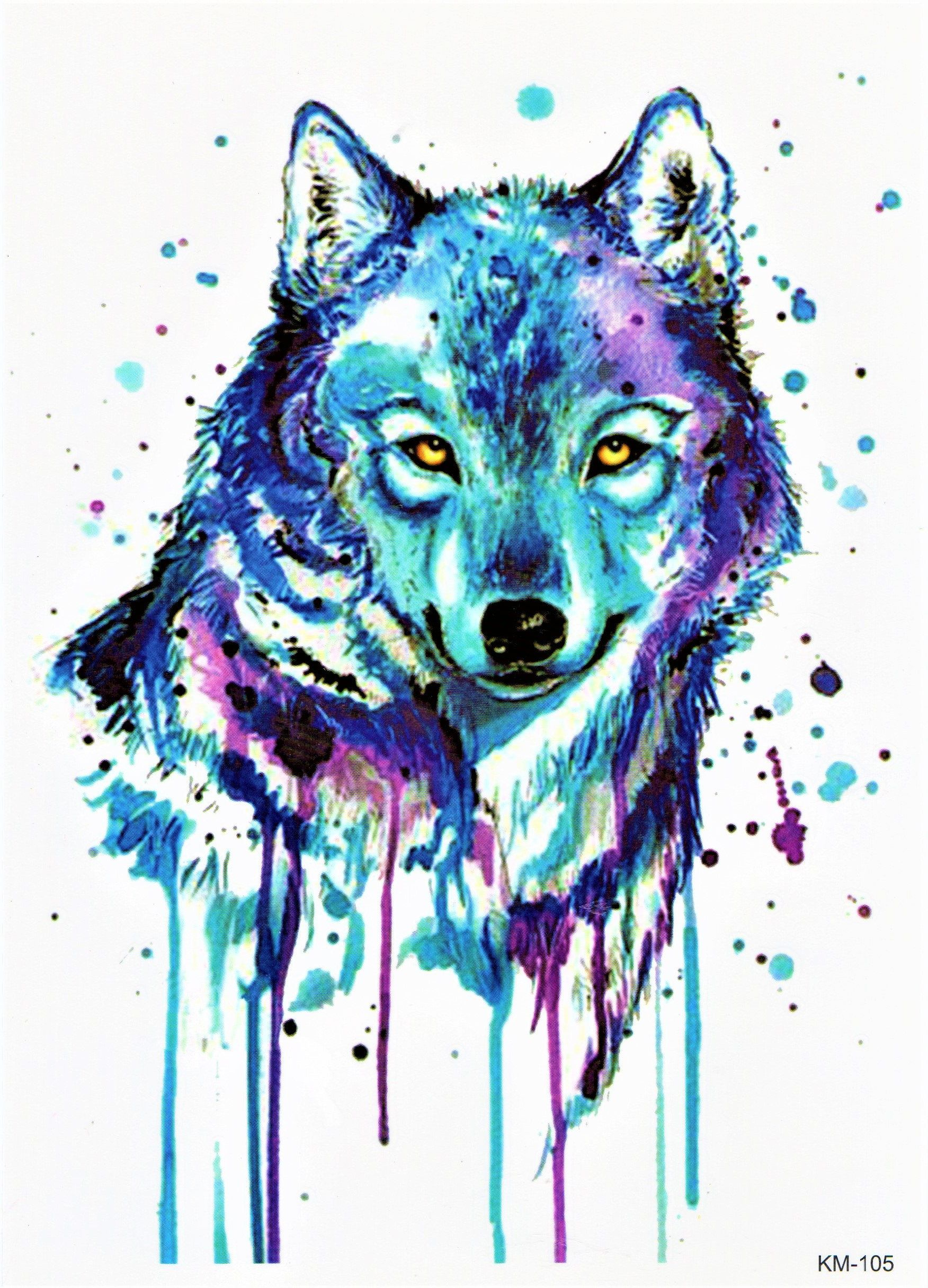 Wolf Blut Tier Jagd Wild Toll Bunt Blau Aquarell Malerei Temporary