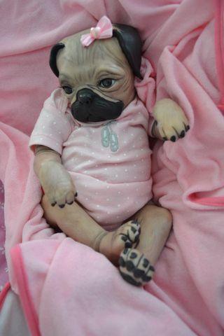 Ooak Reborn Baby Pug Puppy Girl Newborn Baby Pugs Really Cute