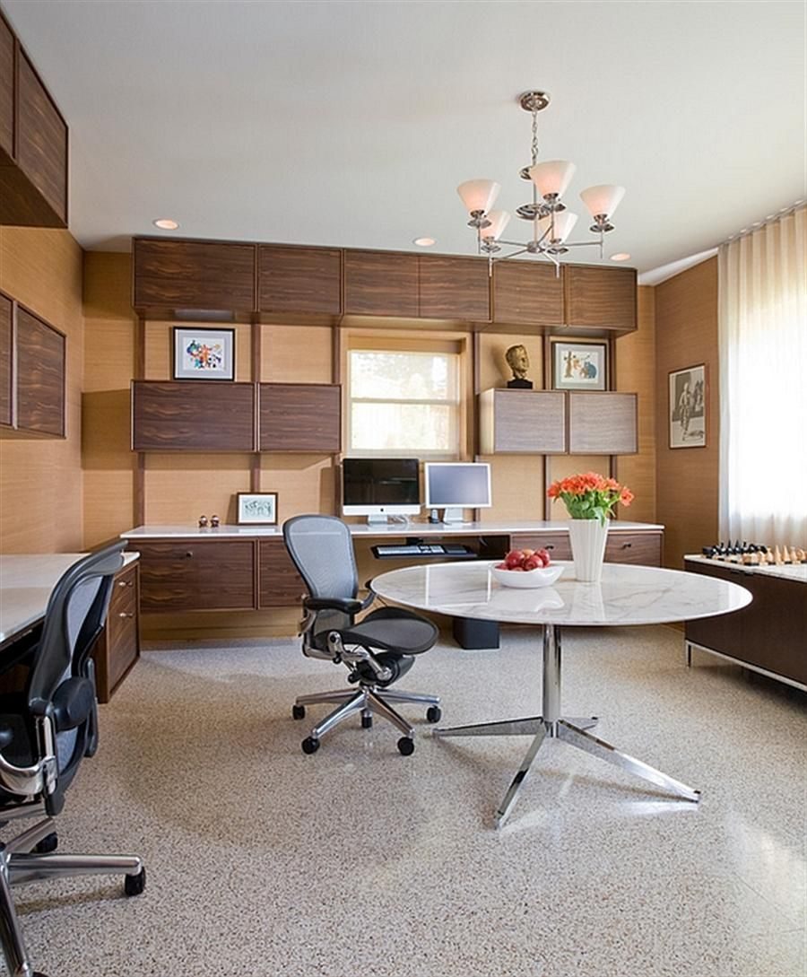 Mid century basement modern basement home office with mid century modern decor with custom - Mid century modern home office ideas ...