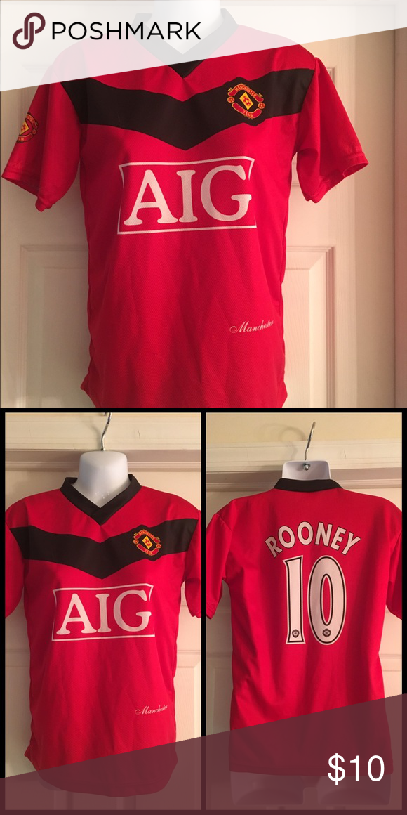 8b44466f0 Manchester United Red AIG Rooney Jersey Manchester United Jersey purchased  IN ENGLAND! Never worn