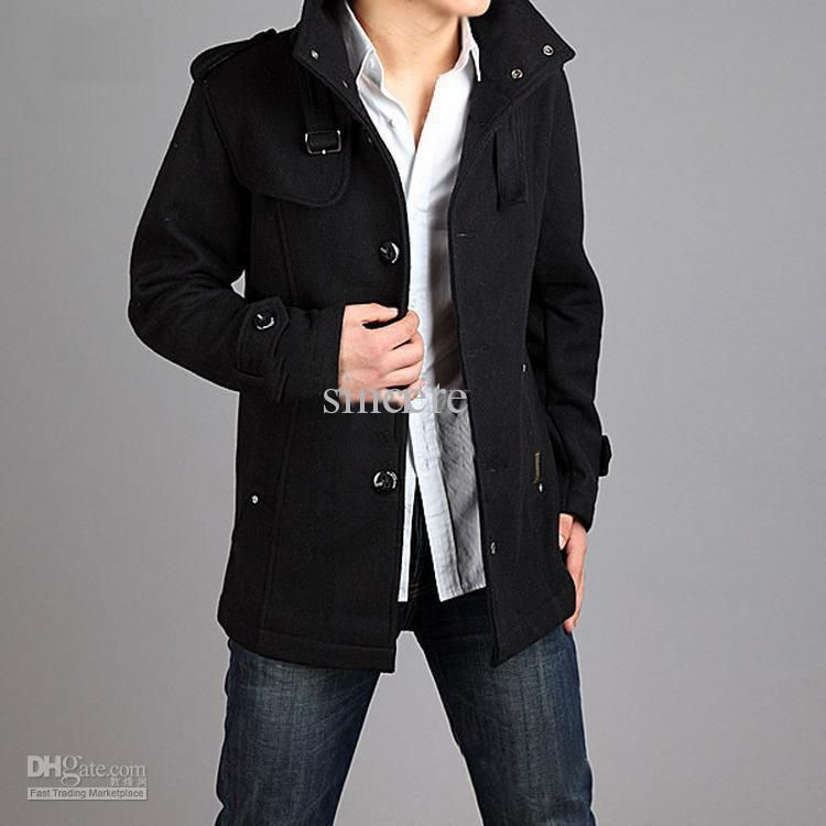 Wholesale Men's Single-breasted jacket Big collar thick woolen ...