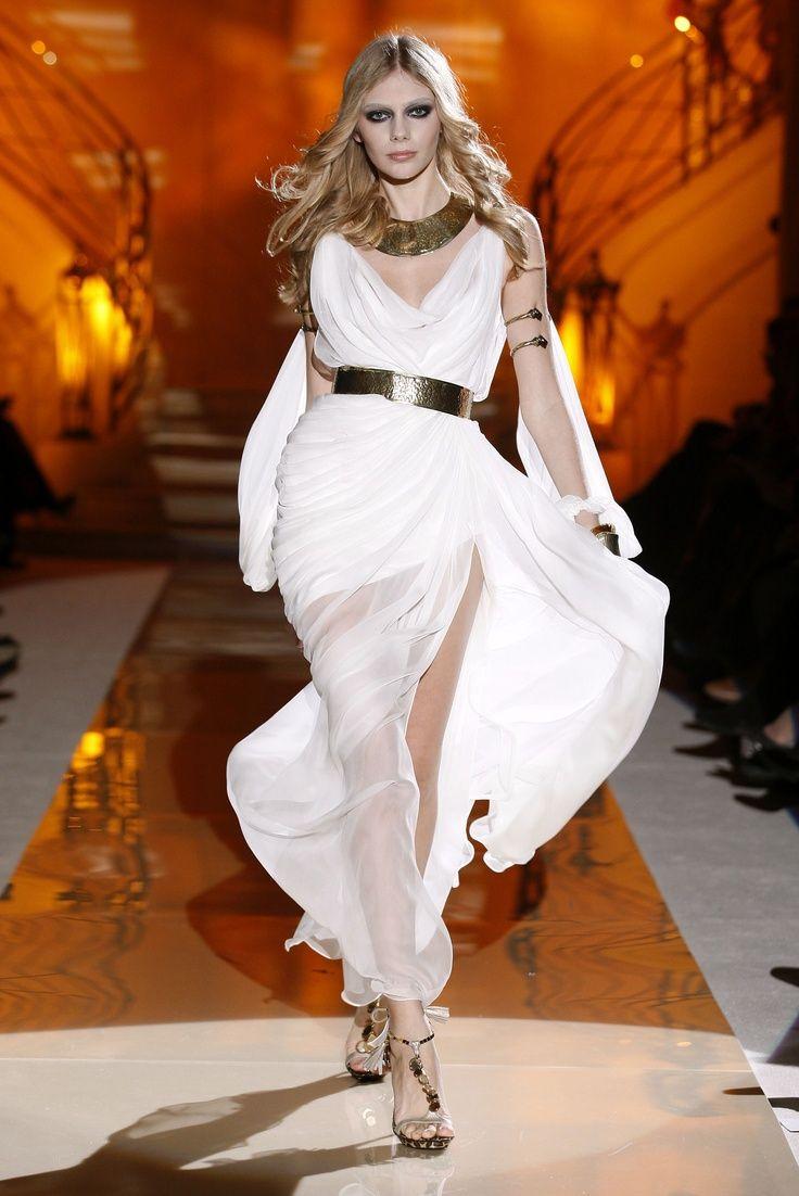 0d50b91538ce1 Beautiful white evening gown goddess dress with gold metal belt Asgard  fashion