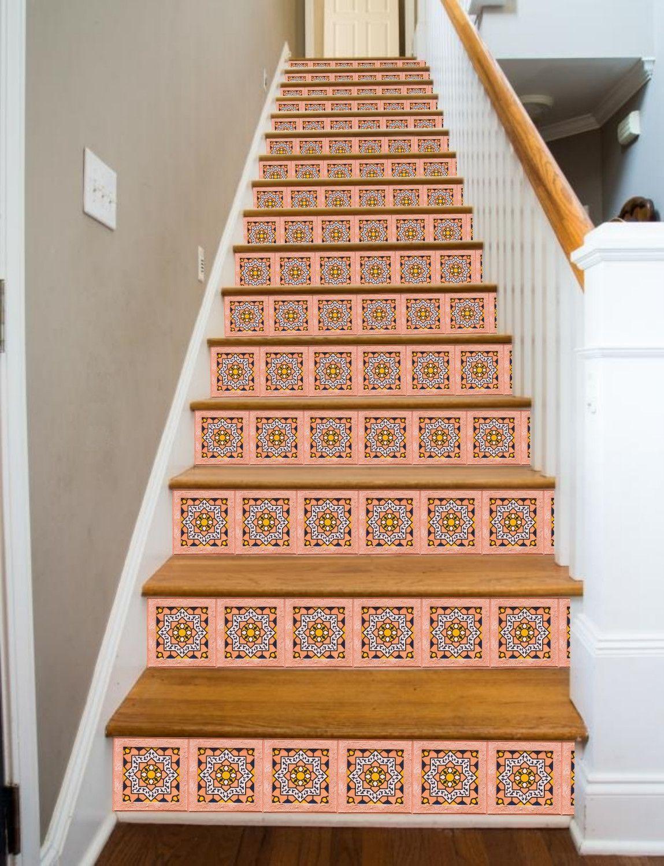 Rose Tile Painted Stairway, 15 Stairs