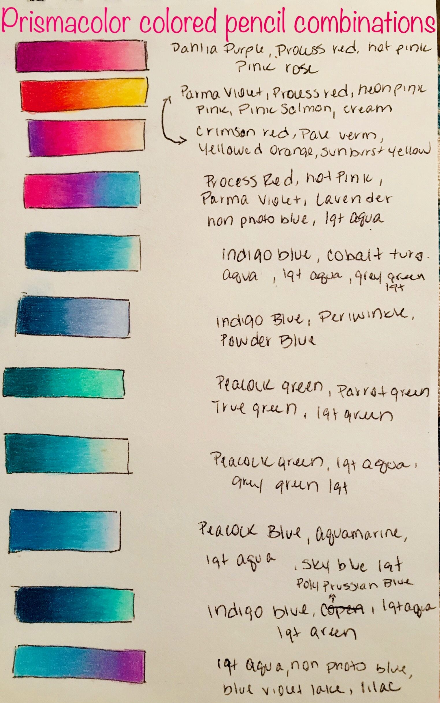 Prismacolor Pencil Color Combinations With Images Prismacolor