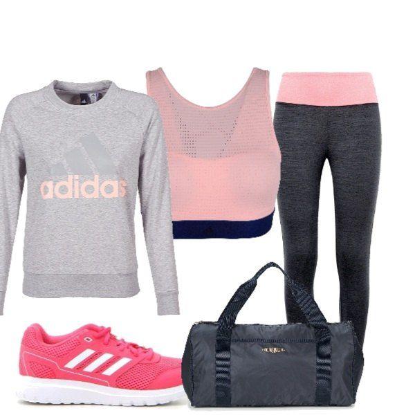 Intuición visitar Bisagra  Outfit composto da felpa rosa Adidas top e leggings. Scarpe da ginnastica  fucsia e borsone blu | Outfit, Abiti moda adolescenti, Abbigliamento per  esercizio fisico