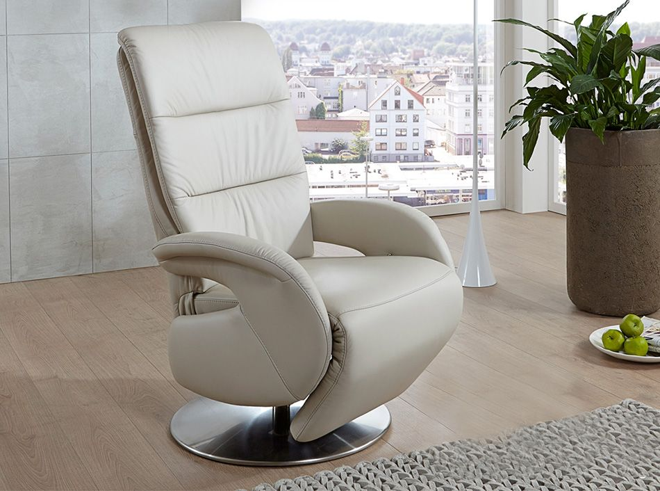 Aalen Recliner Chair by Nordholtz Creme Leather 2,195