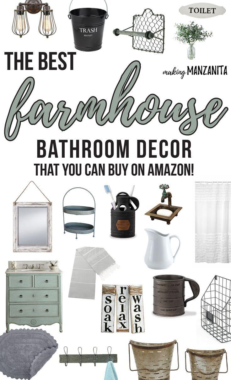 Best Farmhouse Bathroom Decor From Amazon Farmhouse Bathroom