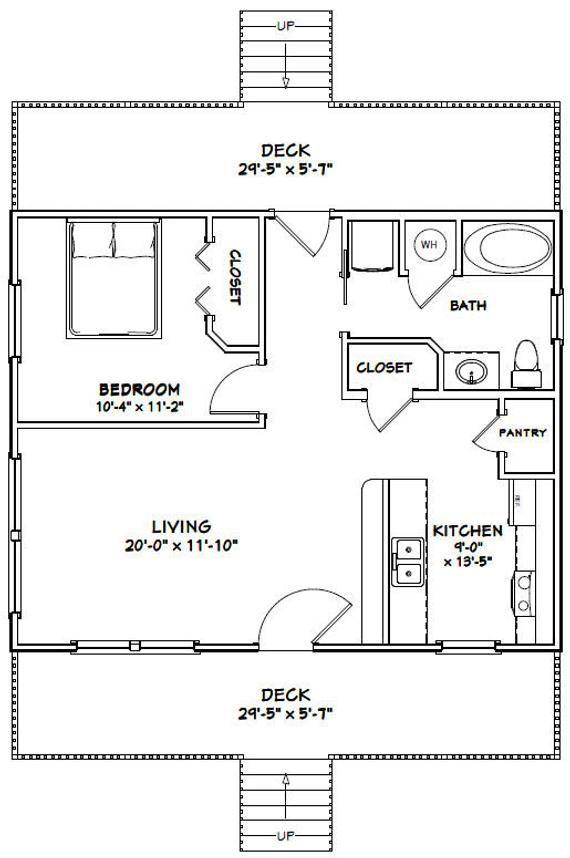 30x24 House 1 Bedroom 1 Bath 720 Sq Ft Pdf Floor Plan Instant Download Model 6c Small House Floor Plans New House Plans Garage Plans