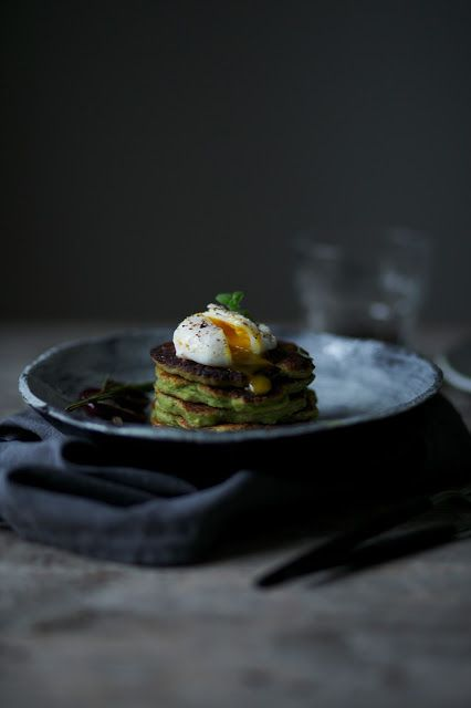glutenfree avocado pancakes with poached  - ourfoodstories.com