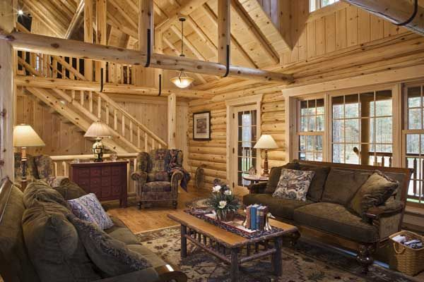 Log Home Living Rooms | Living Room With U Straps