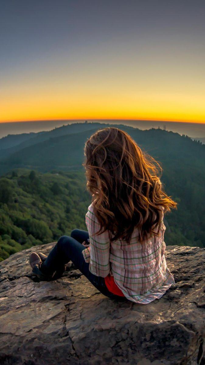 Girl Sitting On Rocks Landscape Iphone Wallpaper Hd Nature Wallpapers Iphone Wallpaper Landscape Alone Photography