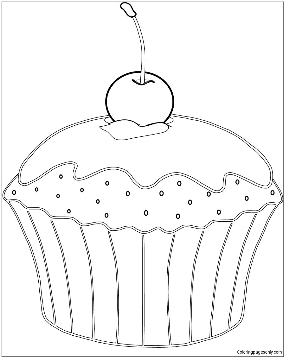 Muffin With Cherry Coloring Page | Food Coloring Pages | Pinterest ...