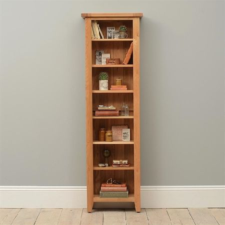 Vancouver Oak Tall Slim Bookcase 721 035 Quality Wooden Furniture At Great Low Prices From Pinesolutions