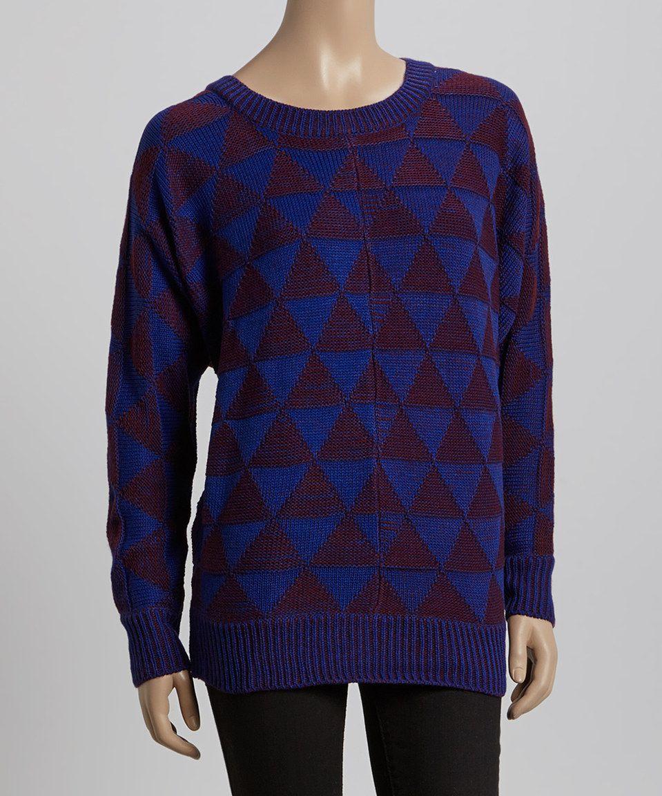 Love this Retro Blue & Plum Geometric Sweater by ASH RAIN + OAK on #zulily! #zulilyfinds