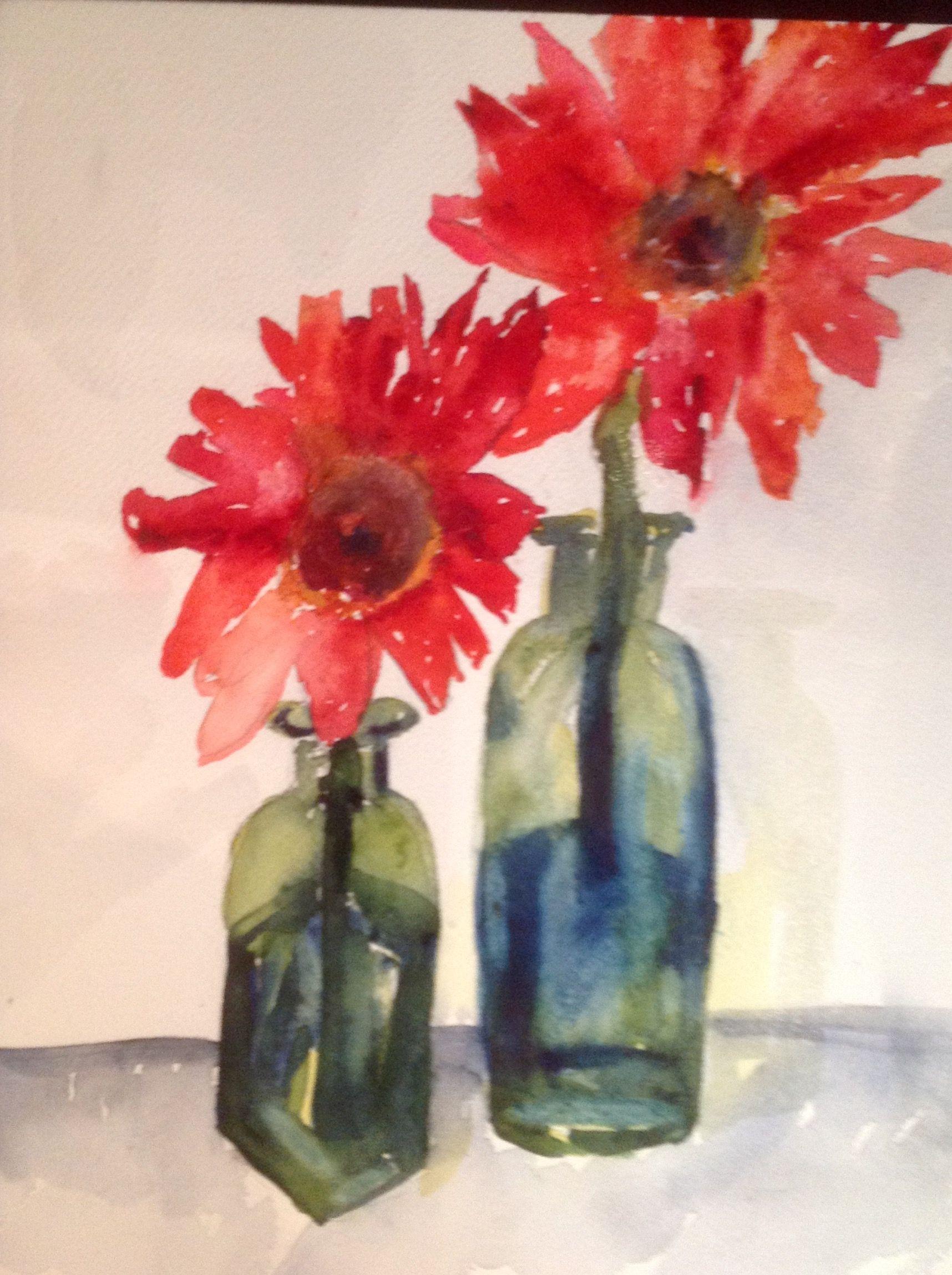 Watercolor artists in texas -  Flowers In Jars By Texas Watercolor Artist Karen Scherrer