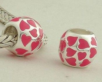 Sterling Silver Pink Love Heart Enamel Charms - Enamel Charms - Charms - LYDIA JEWELLERY