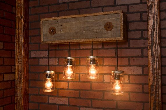 Bistro Globe Bath Sconce 4 Light: Mason Jar Fixture With Reclaimed Wood And 5 Pendants. R