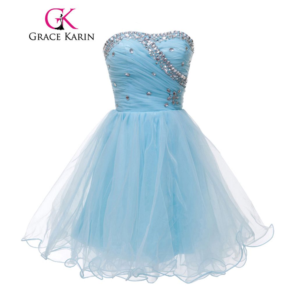 Click to Buy << Grace Karin Cute Pink Blue White Black Short Prom ...