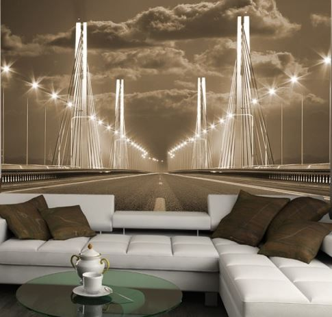 living room idea bridge #3D photo wallpaper / wall mural ...
