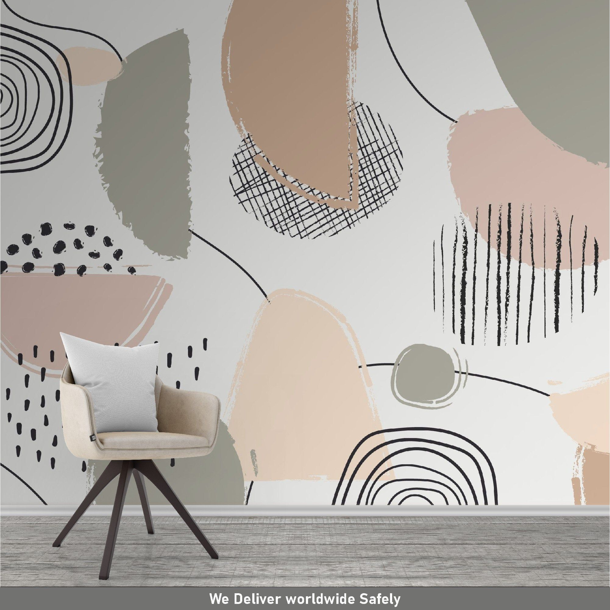 Abstract Wallpaper Pastel Color Mural Peel And Stick Etsy Abstract Wallpaper Mural Mural Wallpaper