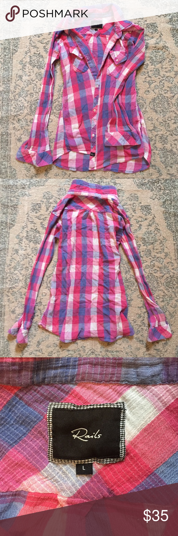 Rails Flannel Rails pink Flannel. Very light weight, thin material. Great for over a tank top or to complete your look tying around the waist!  Size large. Sleeves need ironing as shown in photo. Rails Tops Button Down Shirts