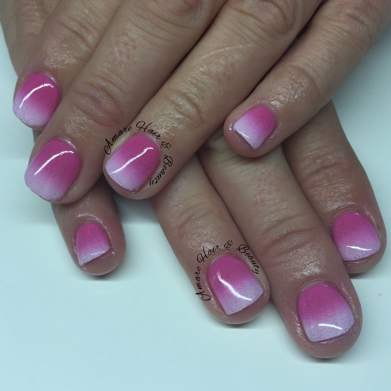 Sns nails with ombré pink to white. | Amare Hair & Beauty ...
