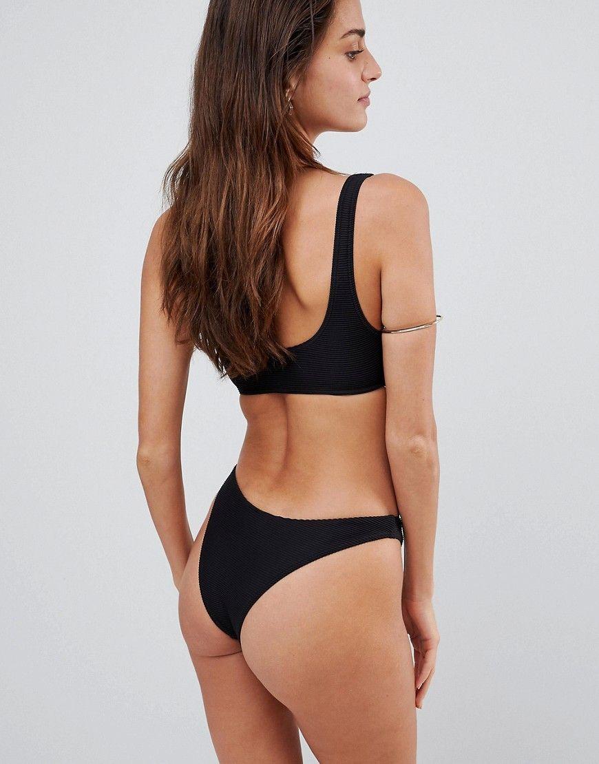 5de9b48d1179f Lepel London Ribbed High Leg Bikini Bottom - Black