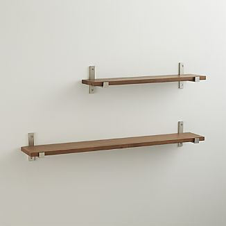 Styles Wood Shelf With Brushed Silver Brackets Wood Shelves Shelves Shelf Brackets Silver