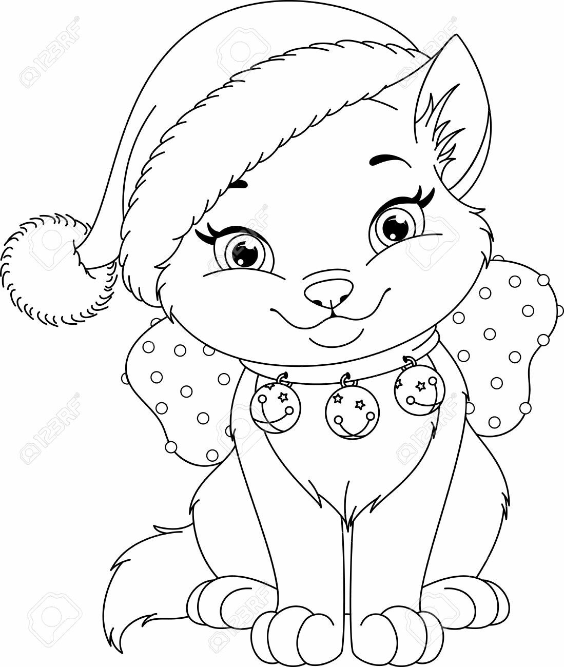 Christmas Coloring Page Kitten