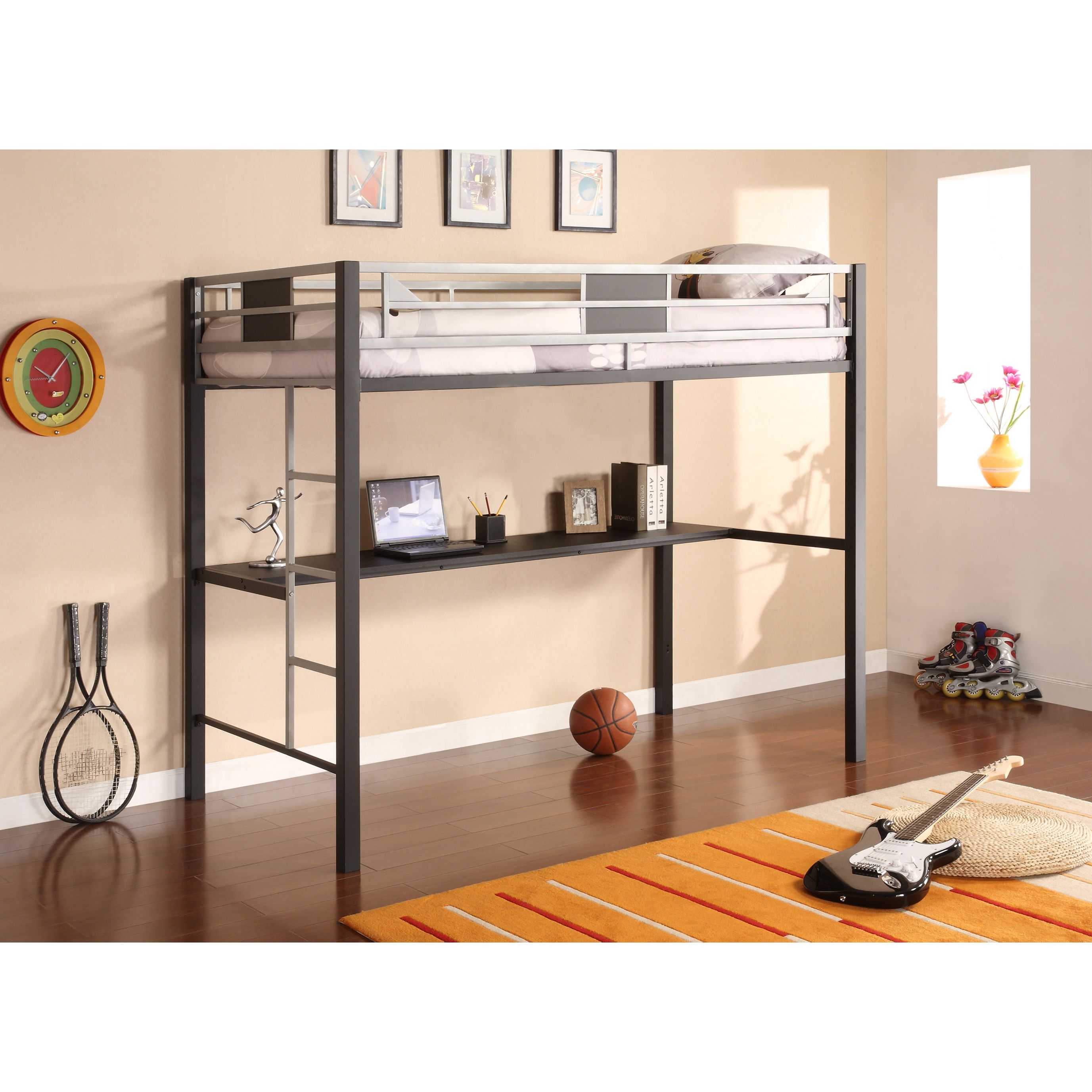 Loft bed with desk full size mattress  The Silver Screen Loft Bed brings a cool chic look with practical