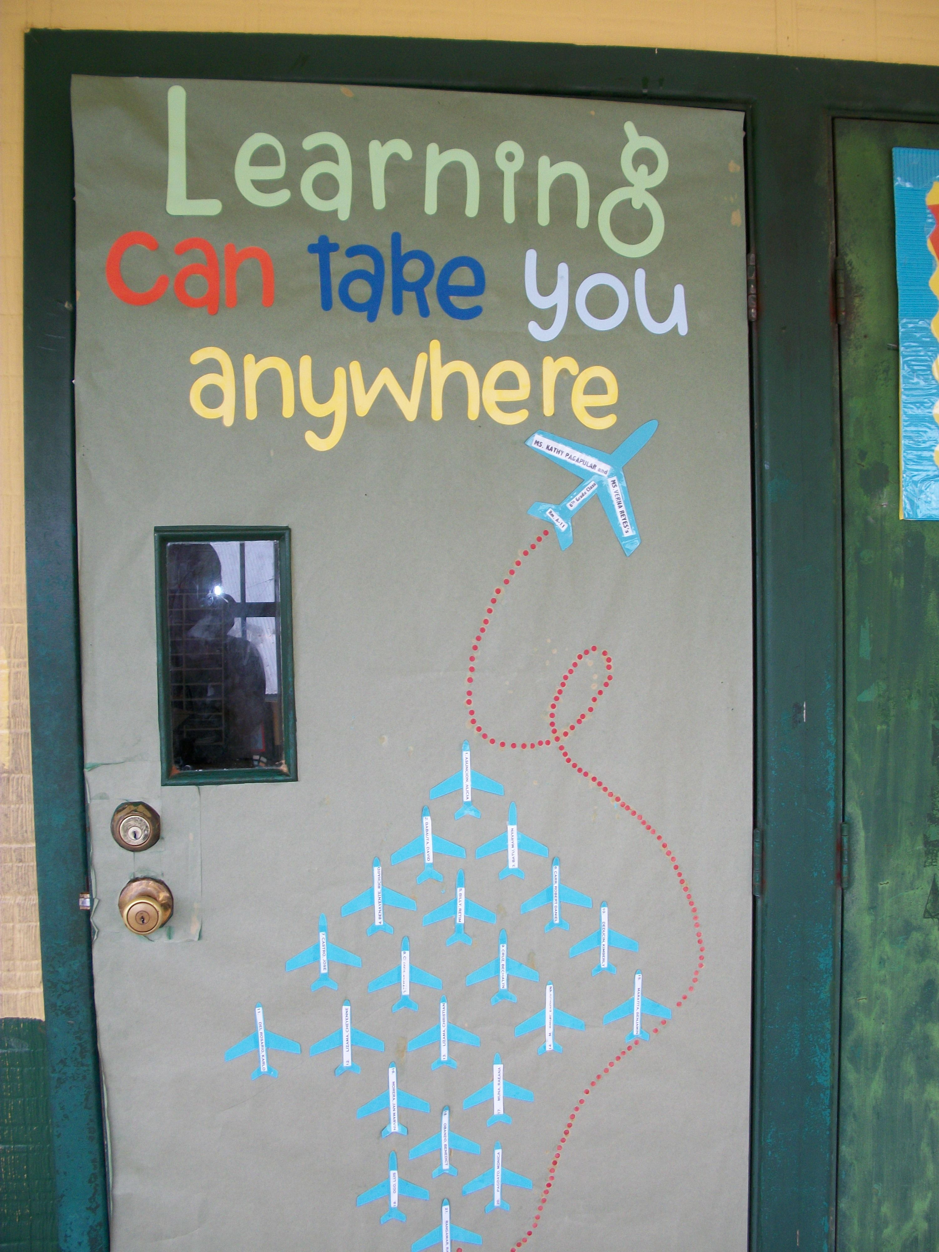 Classroom Decor Travel ~ World travel bulletin board made me think of your door