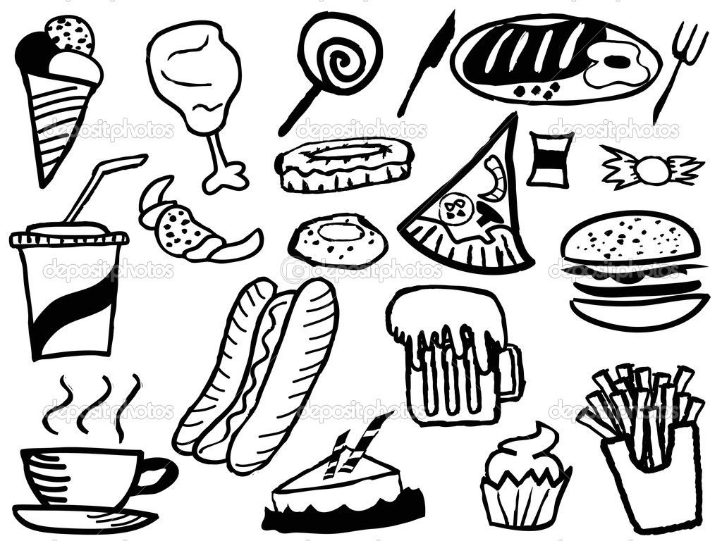 Printable 34 Junk Food Coloring Pages And