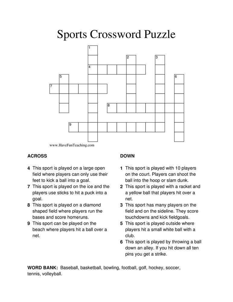 Sports Crossword Puzzle Crossword Puzzle Crossword Puzzles Back To School Worksheets