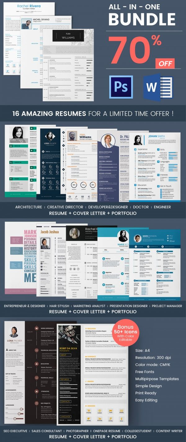 16 Stunning Resume Template Bundle | Deals Coupons | Pinterest ...